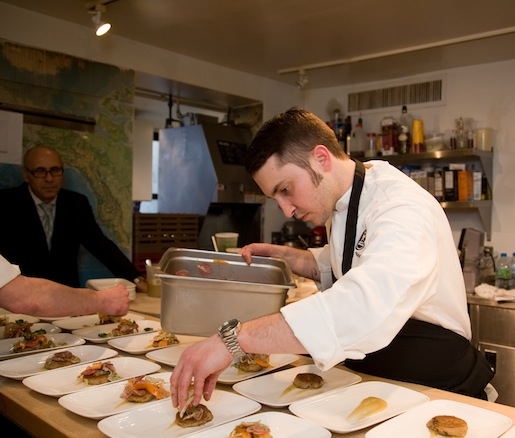 Chef Szoke plating in the Beard House kitchen